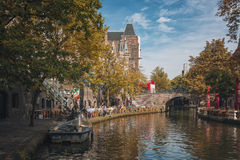 Cityscape in the autumn setting. Calm beautiful autumn colors in Utrecht Royalty Free Stock Photos