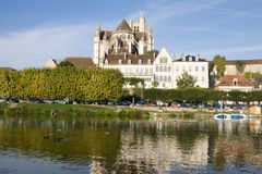Cityscape in Auxerre, France. Auxerre, France. Cityscape with Saint-Etienne cathedral and Yonne river Stock Photos