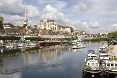 Cityscape in Auxerre, France. Auxerre, France. Cityscape with abbey of Saint-Germain and Yonne river Royalty Free Stock Photography