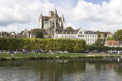 Cityscape in Auxerre, France. Auxerre, France. Cityscape with Saint-Etienne cathedral and Yonne river Royalty Free Stock Photos