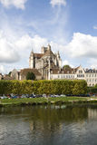 Cityscape in Auxerre, France. Auxerre, France. Cityscape with Saint-Etienne cathedral and Yonne river Stock Photography