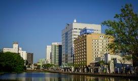 Cityscape av Akita, Japan Arkivbilder