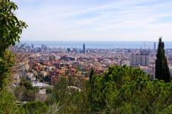 Cityscape av Barcelona från parkerar Guell, Spanien Royaltyfri Fotografi