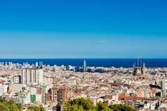 Cityscape av Barcelona. Spanien. Royaltyfri Bild