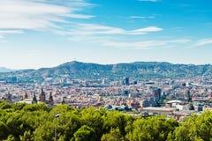 Cityscape av Barcelona. Spanien. Arkivfoton