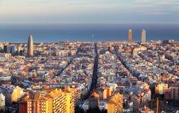 Cityscape av Barcelona, Spanien Arkivfoton
