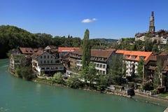 Cityscape av Bern och den Aare floden, Schweiz Royaltyfri Fotografi