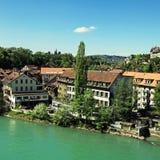 Cityscape av Bern och den Aare floden, Schweiz Arkivbilder