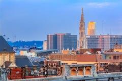 Cityscape av Bryssel på solnedgången Royaltyfri Bild