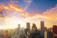 Cityscape av den Tokyo staden, Japan Flyg- sikt av den moderna kontorsbuien Arkivfoto
