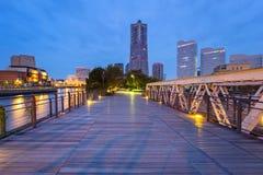 Cityscape av den Yokohama staden på natten Arkivbild