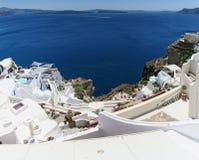 Cityscape av Fira, stad på nollan för Santorini ö Grekland och Caldera royaltyfri fotografi