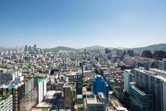 Cityscape av Gangnam gu, Seoul Arkivfoton