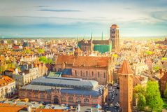 Cityscape av Gdansk, Polen royaltyfria bilder