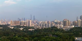 Cityscape av Guangzhou Kina arkivbild