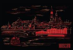 Cityscape av invallningen av den Kremltorn och bron över den röda fyrkanten för Moskvafloden, Moskva, Ryssland isolerade vektorha stock illustrationer