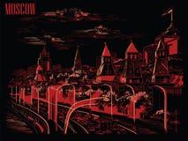 Cityscape av invallningen av den röda fyrkanten för Kremltorn och för Moskvafloden, Moskva, Ryssland isolerade illustrationen för vektor illustrationer