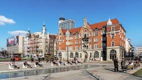 Cityscape av Katowice Arkivbilder