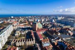 Cityscape av Kolobrzeg, Polen Arkivbilder