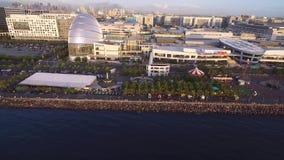 Cityscape av Manila, Filippinerna Nästan Bay City, Pasay med solnedgångljus stock video