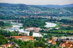 Cityscape av Maribor Slovenien arkivfoto