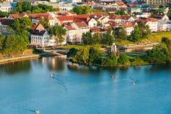 Cityscape av Minsk, Vitryssland Trojeckaje Royaltyfri Fotografi