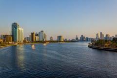 Cityscape av Sharjah Fotografering för Bildbyråer