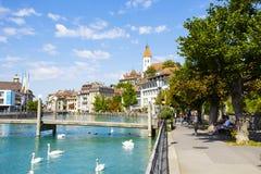 Cityscape av staden av Thun, Schweiz Royaltyfria Bilder