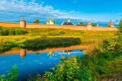 Cityscape av Suzdal, den berömda ryska staden Arkivfoton