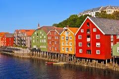 Cityscape av Trondheim, Norge Royaltyfria Bilder
