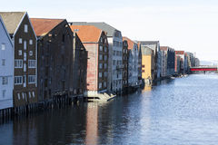 Cityscape av Trondheim, Norge Arkivfoto