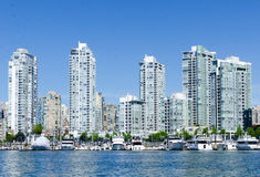 "Cityscape av Vancouver, British Columbia, Kanada †""False Creek Arkivbild"