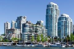 """Cityscape av Vancouver, British Columbia, Kanada †""""False Creek Fotografering för Bildbyråer"""