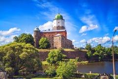 Cityscape av Vyborg i sommardag Arkivbilder