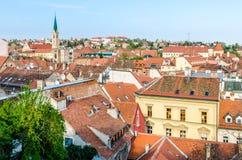Cityscape av Zagreb, Kroatien Royaltyfria Foton