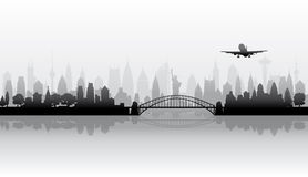 Cityscape background. Town skyline vector silhouette wallpaper royalty free illustration