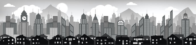 Cityscape background (black & white) Stock Photos
