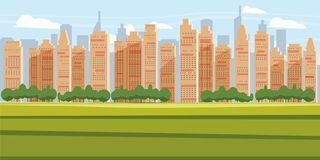 Cityscape Background Modern City Panorama With Over Skyscrapers Skyline Silhouette Cartoon Vector Illustration. Cityscape Background Modern City Panorama With vector illustration