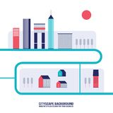 Cityscape background Modern flat design style. Vector illustration Stock Photos