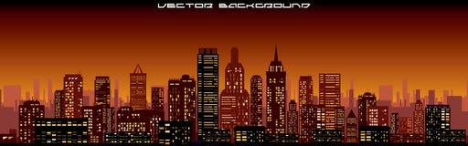 Cityscape Background. Night Skyline Banner Royalty Free Stock Photo