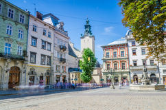 Cityscape background of old part of Lviv city in Ukraine in the summer season Royalty Free Stock Images