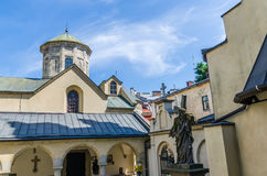 Cityscape background of old part of Lviv city in Ukraine in the summer season Royalty Free Stock Image