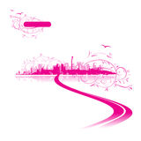 Cityscape background pink, urban art Royalty Free Stock Images