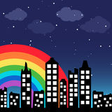 Cityscape background with rainbow Royalty Free Stock Images