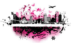 Cityscape background, urban art. Vector illustration Stock Images