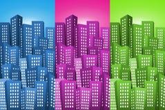 Cityscape Backgrounds Set Stock Photos