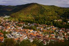 Cityscape of Bad Lauterberg in the Harz mountains, Lower Saxony, Germany. royalty free stock photos