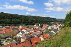 Cityscape of Bad Schandau in Saxon Switzerland. With blue sky Stock Photos
