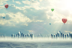 Cityscape with balloons Royalty Free Stock Photography