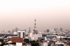 Cityscape of Bangkok, antenna of communication building Stock Photo